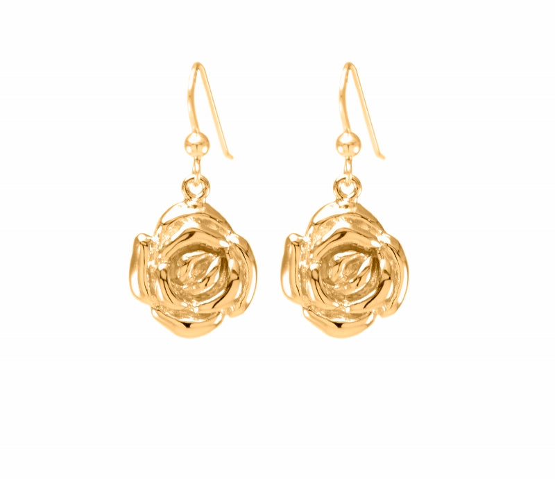 Mystic Rose Earrings, 18K Gold Vermeil