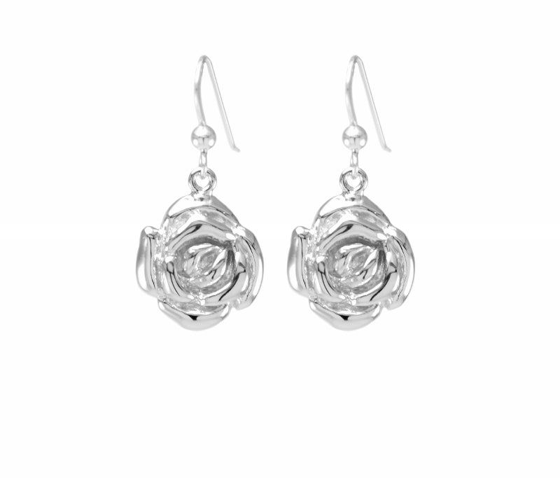 Mystic Rose Earrings, White Rhodium