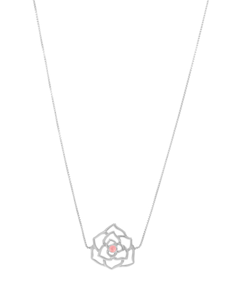 """Compassionate Rose"" Geometric Sliding Choker with Rose Quartz, White Rhodium"