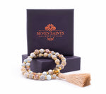 Blue Snake Skin Jasper Transformation and Growth Wrist Mala Tassel Bracelet, Gold Plated