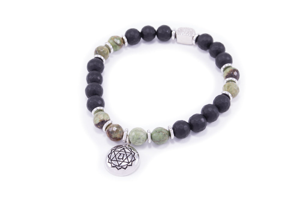 CHAKRA Heart Activation Bracelet, Black Onyx & Raw Jade
