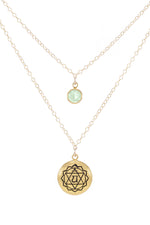 HEART CHAKRA Anahata Double Strand Necklace 18K Gold Finish/Gold Fill, Green Stone