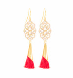 Infinite Love Red Tassel Earrings 18K Gold Vermeil, White Topaz Pave, Holiday Edition