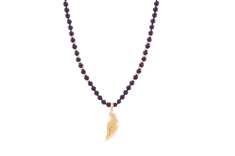 Men's Lava Stone Grounding Angel Necklace 18K Gold Finish
