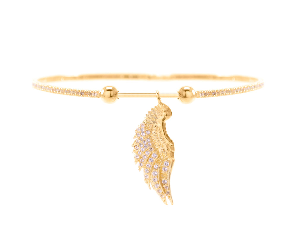 Angelic Connection Bangle, 18k gold vermeil with White Topaz Pave