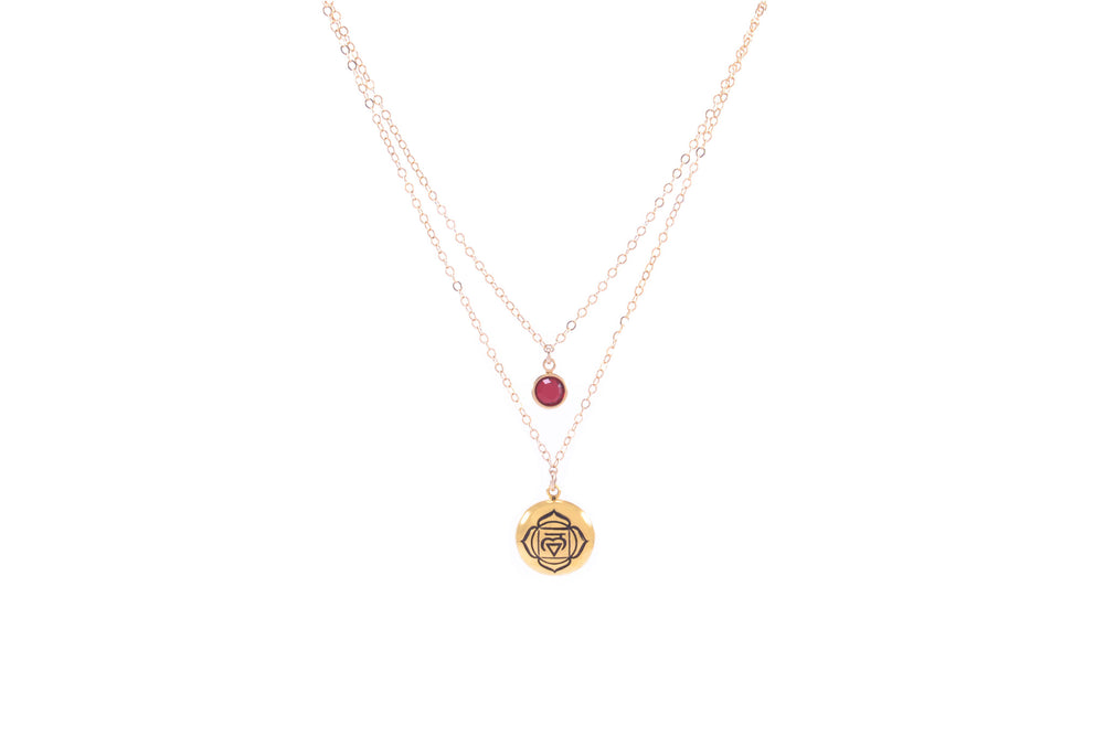 ROOT CHAKRA Muladhara Double Strand Necklace Gold Fill