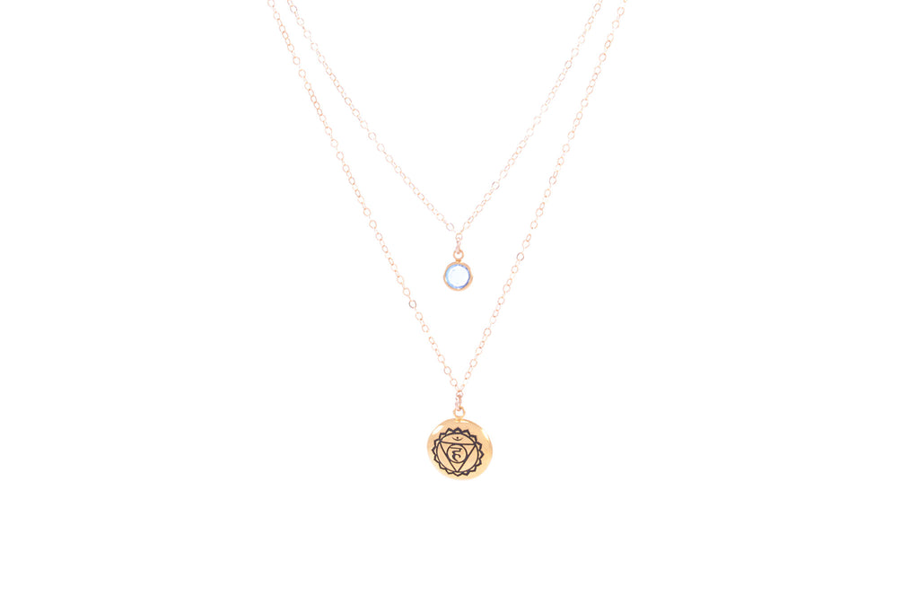 THROAT CHAKRA Visuddha Double Strand Necklace 18K Gold Finish/Gold Fill