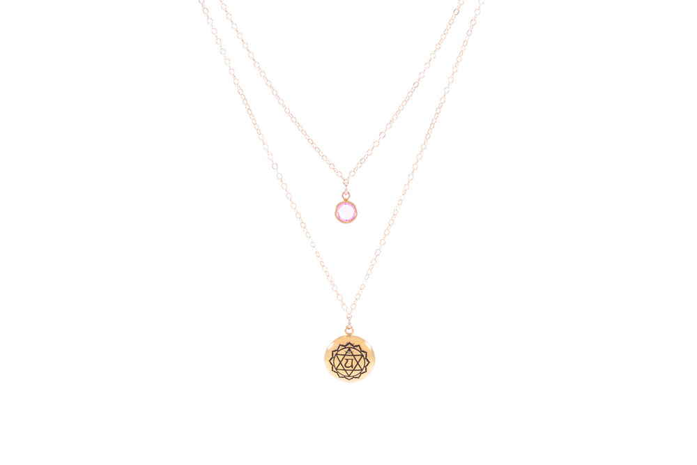HEART CHAKRA Anahata Double Strand Necklace 18K Gold Finish/Gold Fill, Pink Stone