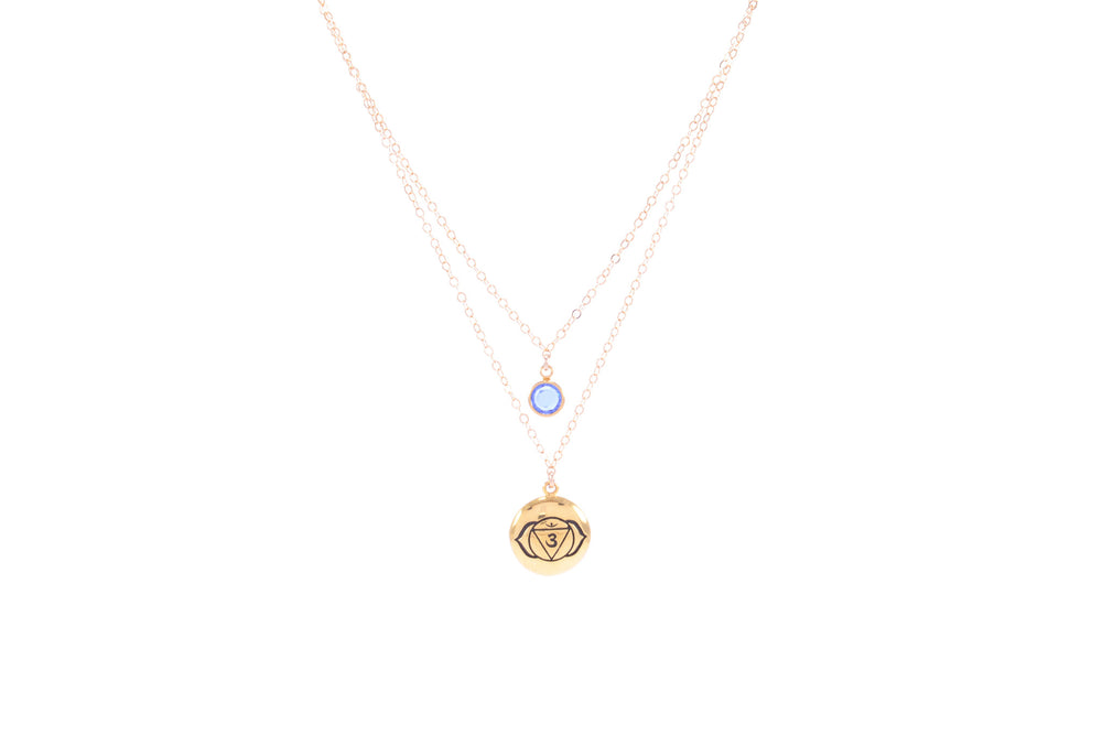 BROW CHAKRA Ajna Double Strand Necklace 18K Gold Finish/Gold Fill