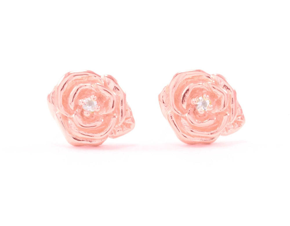 "Classic ""Purity"" Rose Stud Earrings with White Topaz, White Rhodium"