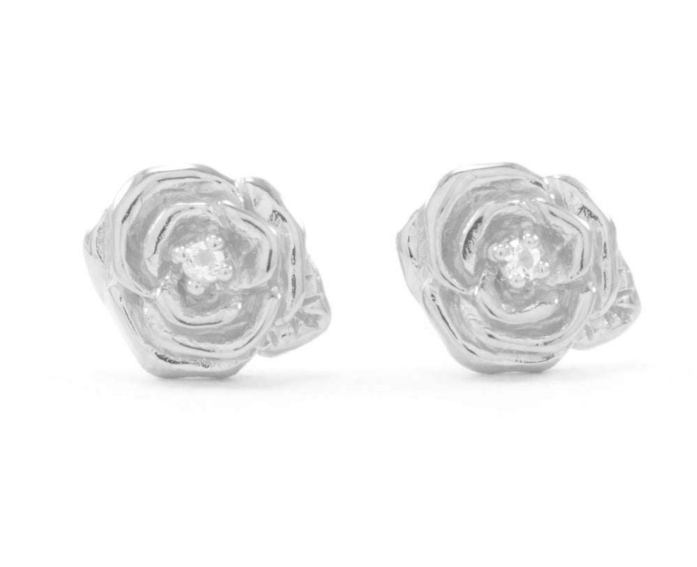 "Classic ""Purity"" Rose Stud Earrings with White Topaz, Rose Gold Vermeil"