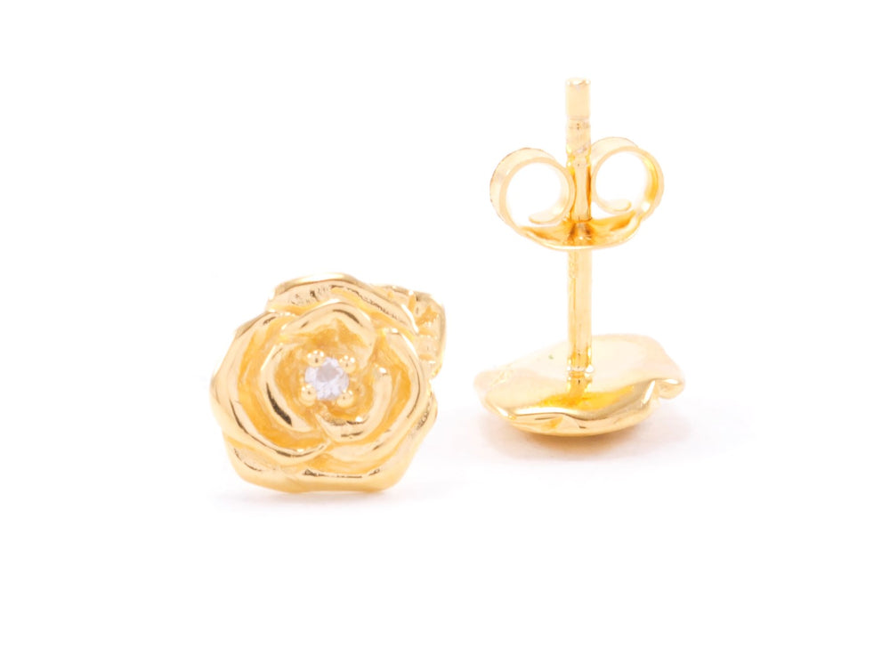 "Classic ""Purity"" Rose Stud Earrings with White Topaz, 18K Gold"