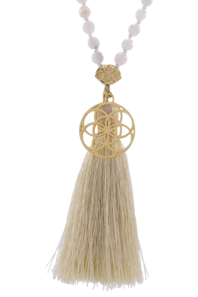 FEMININE BALANCE Mala, Moonstone, Seed of Life 18K Gold Plated