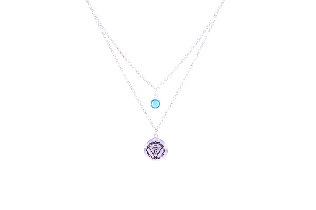 THROAT CHAKRA Visuddha Double Necklace White Rhodium Finish/Sterling Silver