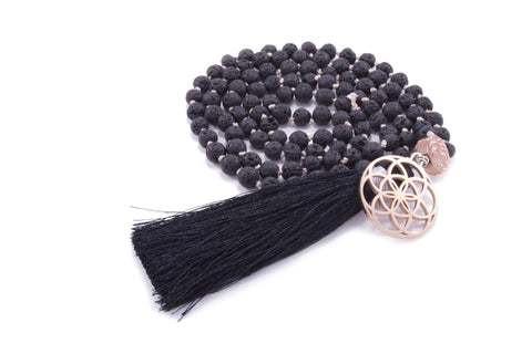 GROUNDING 108 bead Mala, Black Lava Stone, Seed of Life Rose Gold Plated