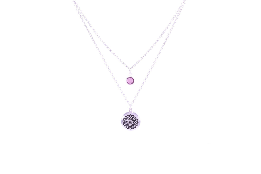 CROWN CHAKRA Sahasrara Double Strand Necklace White Rhodium/Sterling Silver