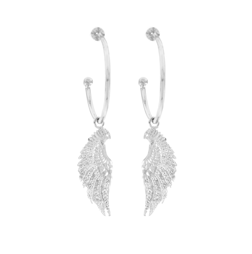 Angel Wing Hoop Earrings White Topaz Pave, White Rhodium