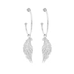 Angel Wing Hoop Earrings White Topaz Pave, Rose Gold Vermeil