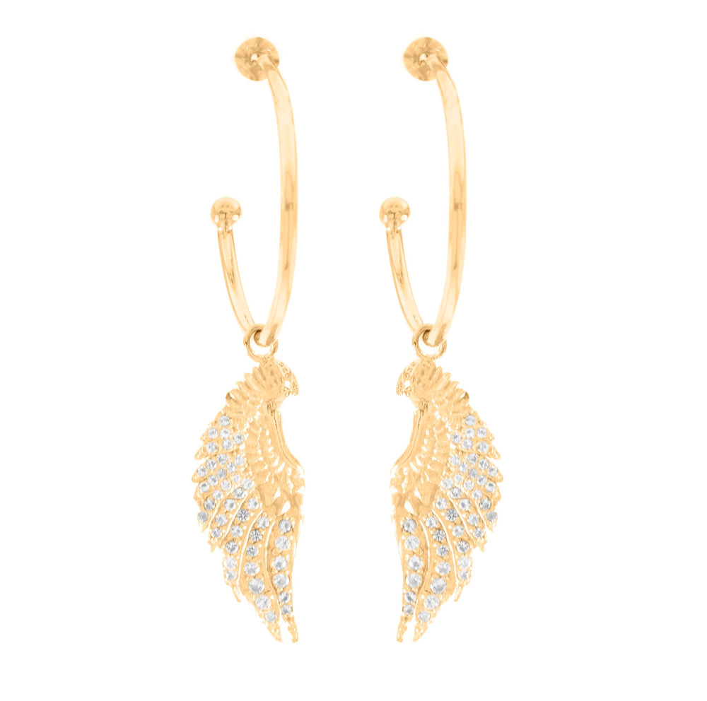 Angel Wing Hoop Earrings White Topaz Pave, 18K Gold Vermeil