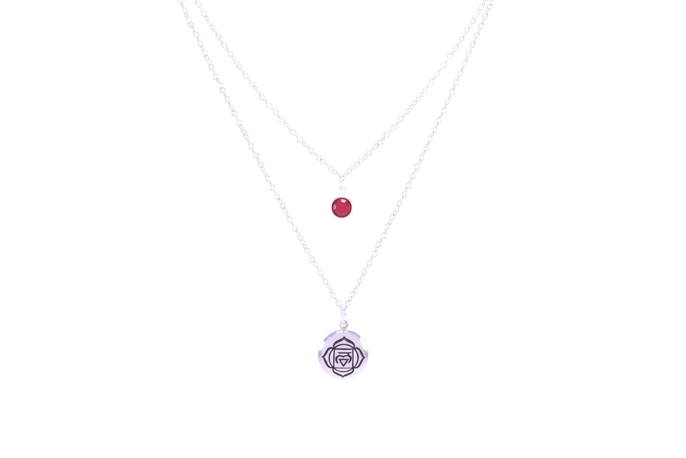 ROOT CHAKRA Muladhara Double Strand Necklace White Rhodium/Sterling Silver