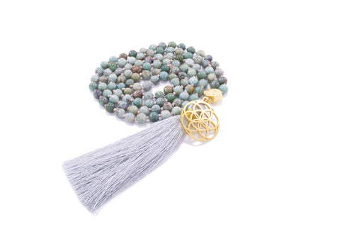 Evolution and Transformation 108 Bead Mala, African Turquoise, Seed of Life 18K Gold Plated