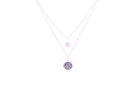 HEART CHAKRA Anahata Double Strand Necklace White Rhodium Finish/Sterling Silver, Pink Stone