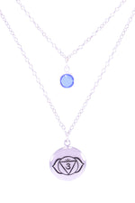 BROW CHAKRA Ajna Double Strand Necklace White Rhodium Finish/Sterling Silver