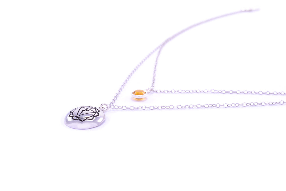 SOLAR PLEXUS CHAKRA Manipura Double Strand Necklace White Rhodium/Sterling Silver