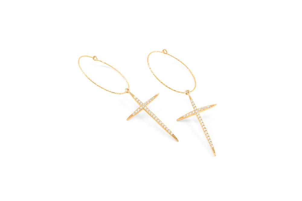 Cross Hoop Earrings, White Topaz Pave, 18k Gold Vermeil