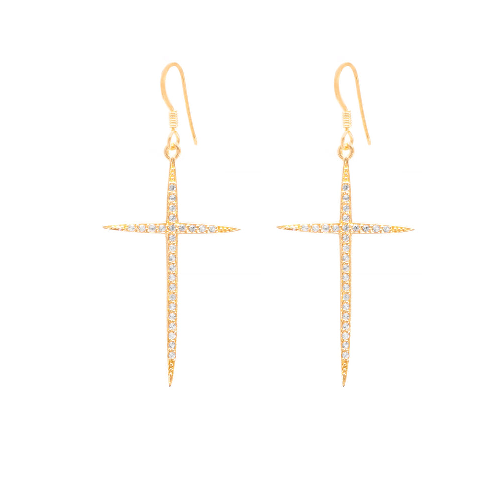 Long Pave Cross Earrings, White Topaz, 18K Gold Vermeil