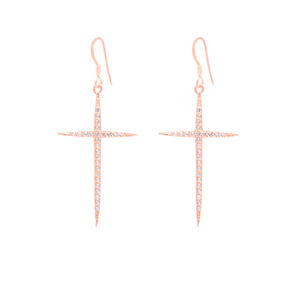 Long Pave Cross Earrings, White Topaz, Rose Gold Vermeil