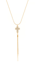Crystal Pave Cross Adjustable Tassel Necklace, 18K Gold Vermeil