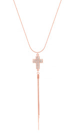 Crystal Pave Cross Adjustable Tassel Necklace, Rose Gold Vermeil