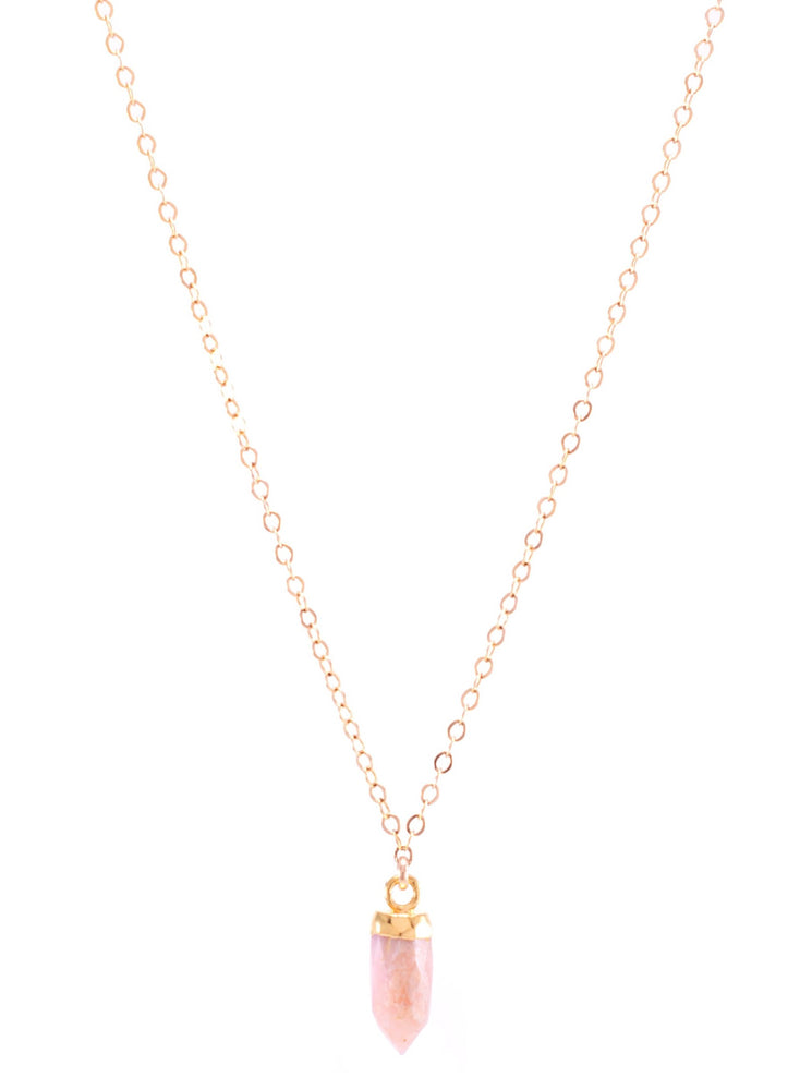 Pink Opal Small Gemstone Spike Necklace, 24k Gold Electroplated, Gold Fill