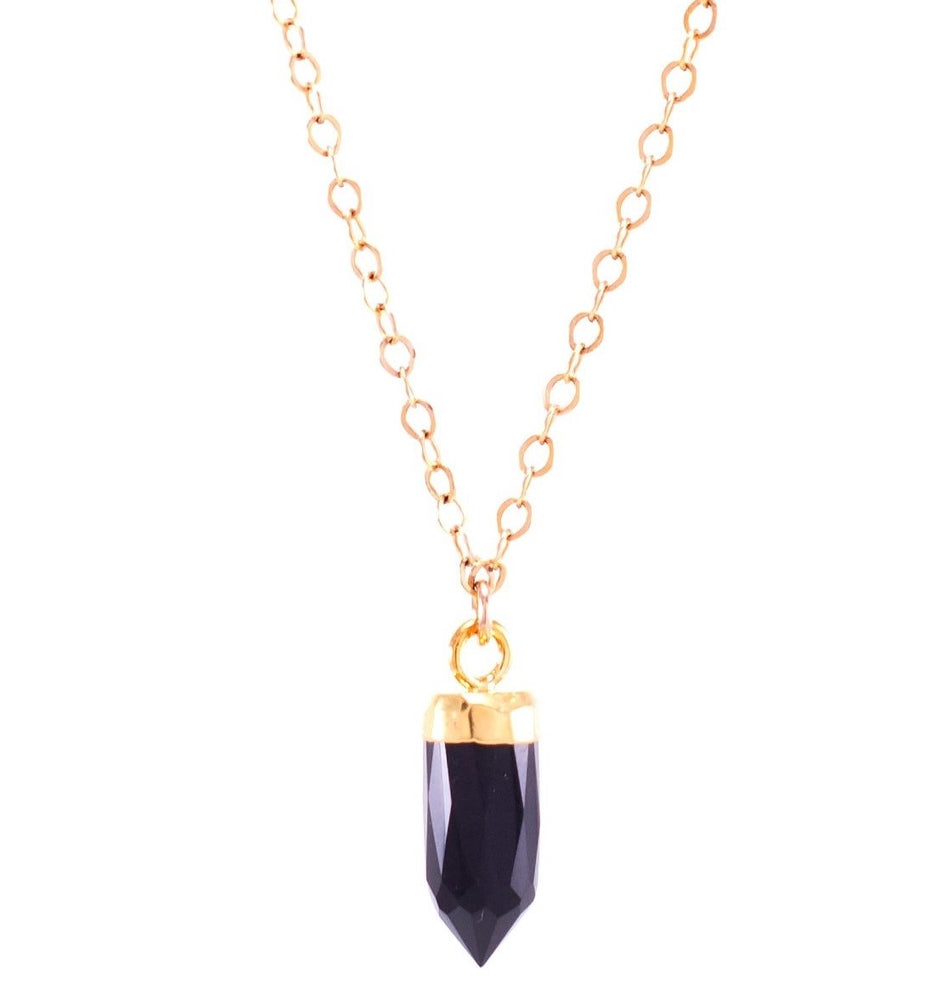 Black Spinel Small Gemstone Spike Necklace, 24k Gold Electroplated, Gold Fill