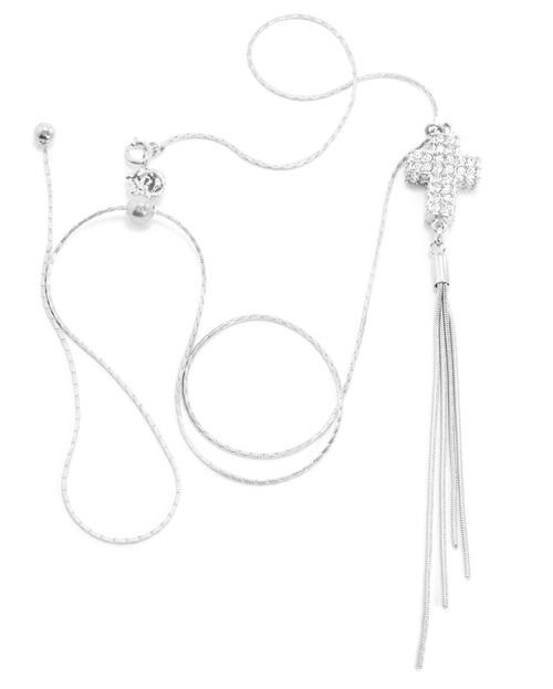 Crystal Pave Cross Adjustable Tassel Necklace, White Rhodium