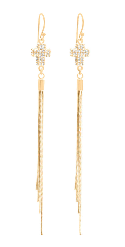 Small Pave Crystal Cross Tassel Earrings, 18K Gold Vermeil
