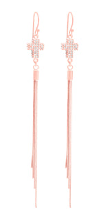 Small Pave Crystal Cross Tassel Earrings, Rose Gold Vermeil