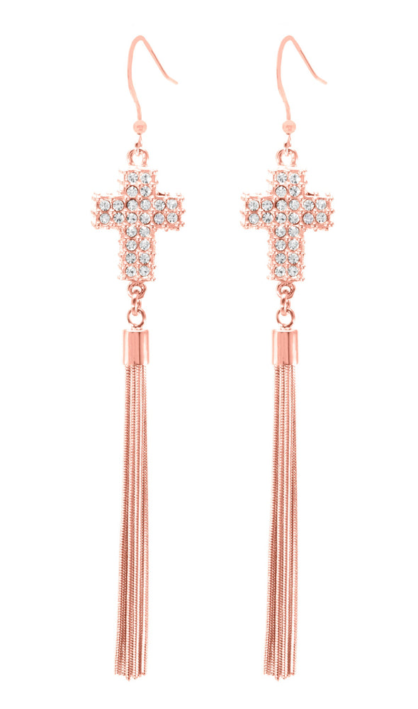 Large Pave Crystal Cross Tassel Earrings, Rose Gold Vermeil