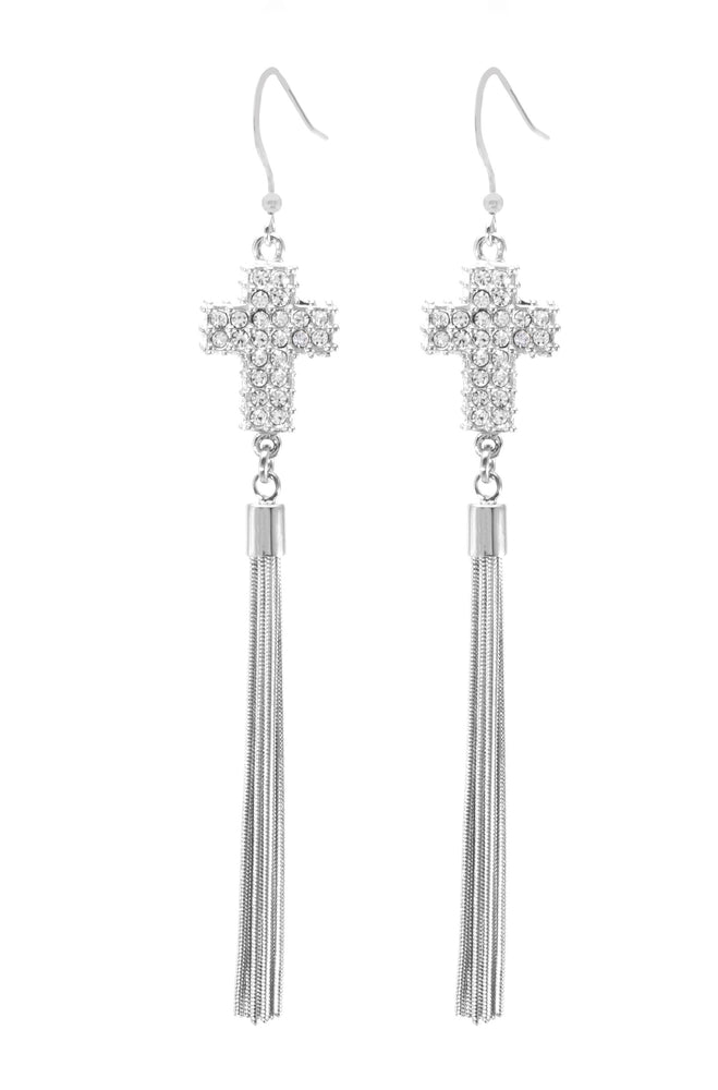 Large Pave Crystal Cross Tassel Earrings, White Rhodium