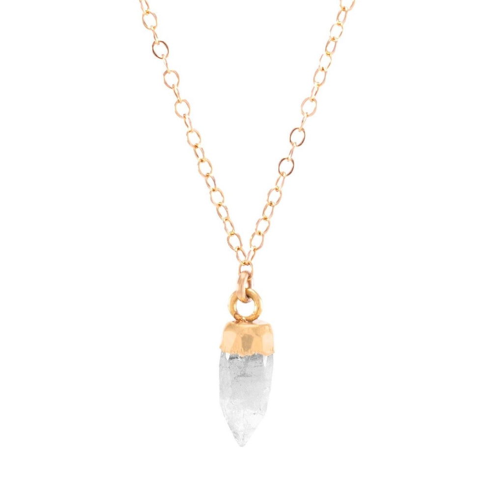 Moonstone Small Gemstone Spike Necklace, 24k Gold Electroplated, Gold Fill