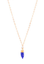 Lapis Lazuli Small Gemstone Spike Necklace, 24k Gold Electroplated, Gold Fill