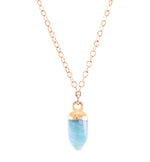 Amazonite Small Gemstone Spike Necklace, 24k Gold Electroplated, Gold Fill