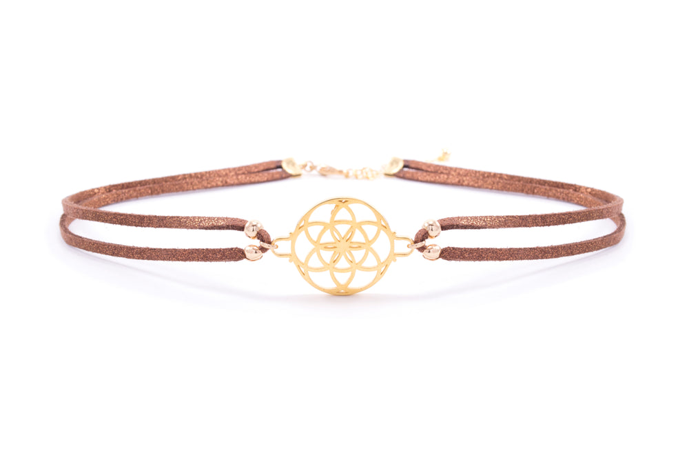 Seed of Life Vegan Suede Choker 18K Gold Vermeil/Chocolate Glitter Cord
