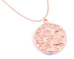 Alexander the Great Bust Antique Coin Necklace - Men's, Rose Gold Vermeil & Stainless Steel