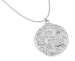 Alexander the Great Bust Antique Coin Necklace - Men's, White Rhodium & Stainless Steel