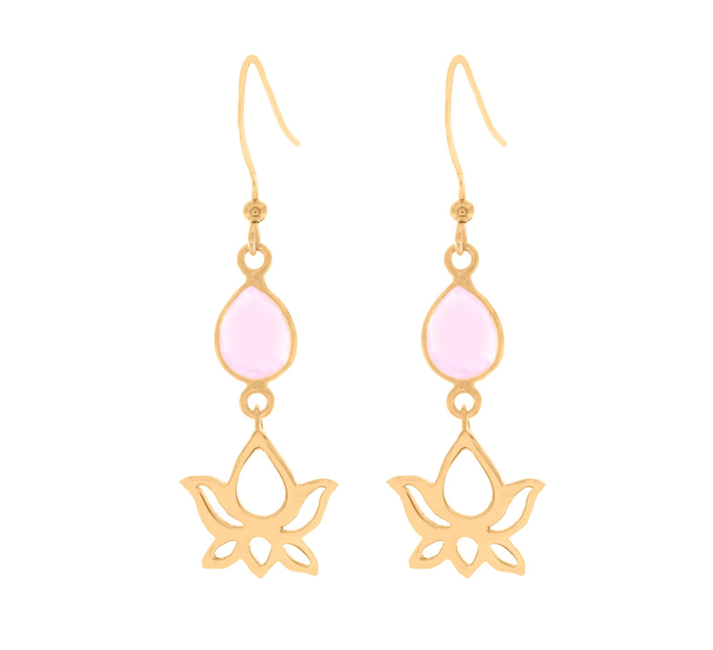 Loving Lotus Dangle Earrings, Rose Quartz, 18K Gold Vermeil