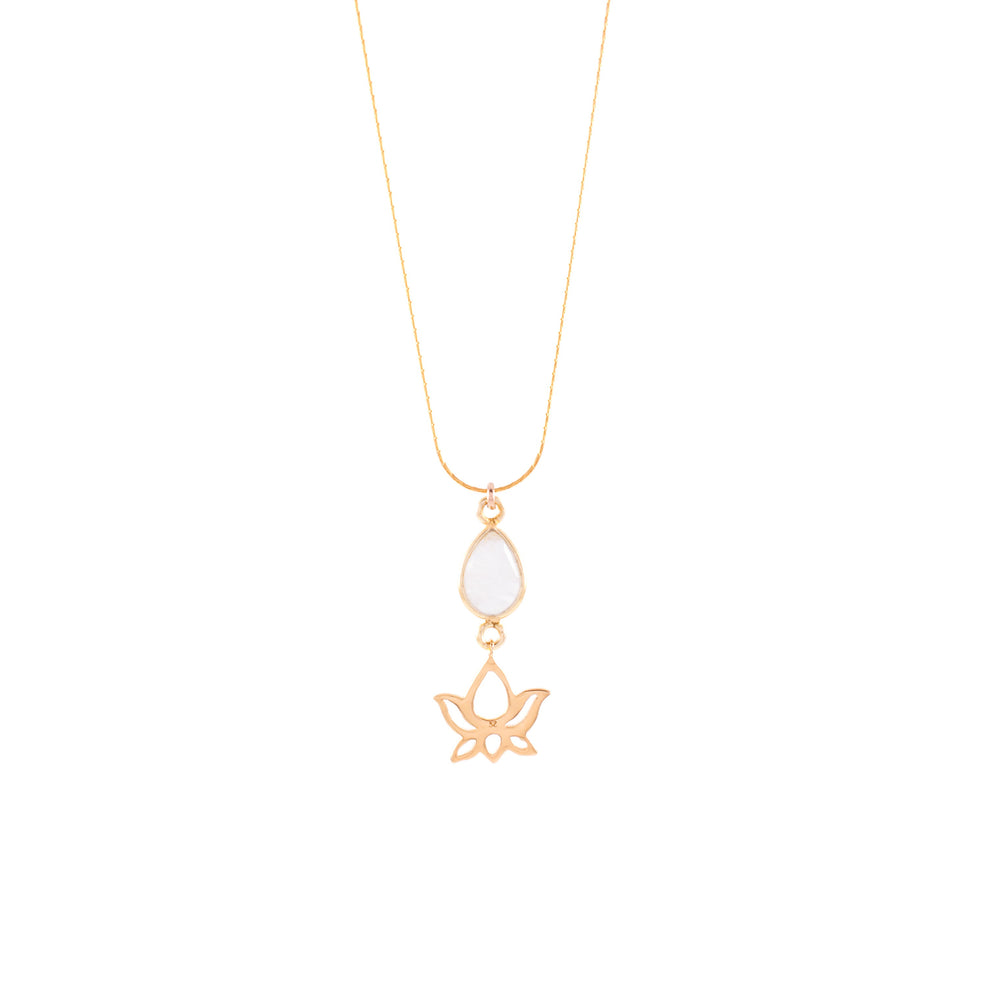 Harmonize Dainty Lotus Necklace, Moonstone, 18K Gold Vermeil