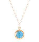 Turquoise Small Round Gemstone Necklace, Gold Vermeil