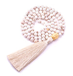 Awareness & Inspiration Buddha Mala, White Howlite, 18K Gold